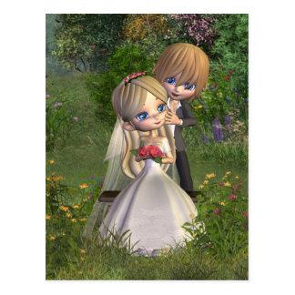 Couples mignons de mariage de Toon dans un jardin Carte Postale