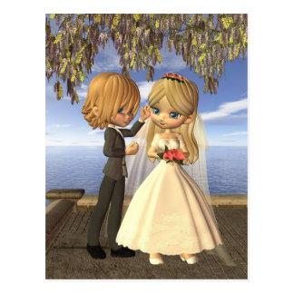 Couples mignons de mariage de Toon sur un balcon d Cartes Postales
