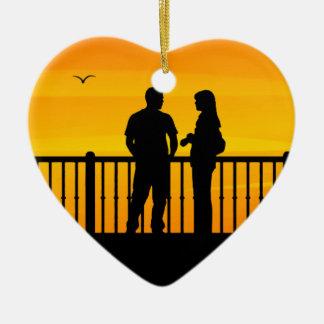 Couples Ornement Cœur En Céramique