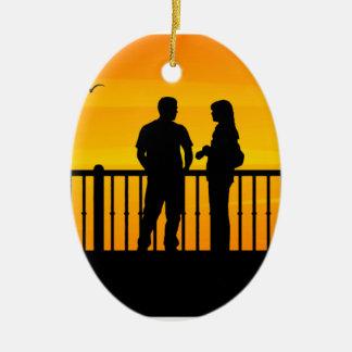 Couples Ornement Ovale En Céramique