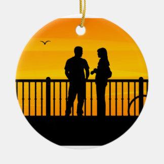 Couples Ornement Rond En Céramique