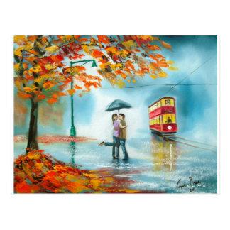 Couples romantiques de parapluie rouge de tram cartes postales