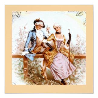 couples romantiques de style français du 18ème carton d'invitation  13,33 cm