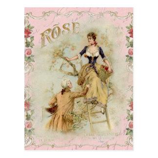 Couples romantiques roses shabbychic roses de cartes postales