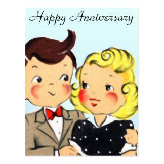 Couples vintages d'anniversaire carte postale