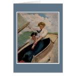 Couples vintages romantiques, naviguant cartes de vœux
