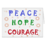 Courage d'espoir de paix carte de vœux