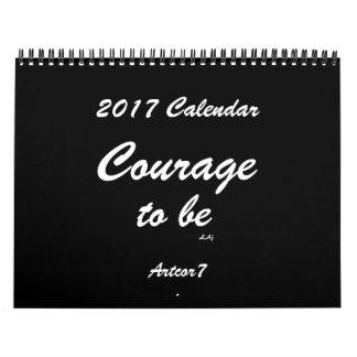 Courage d'être 2017 page noire de la norme 2 de calendriers muraux