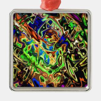 Courbes colorées chaotiques ornement carré argenté