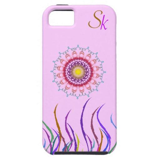 Courbes ethniques florales avec le monogramme coque iPhone 5 Case-Mate