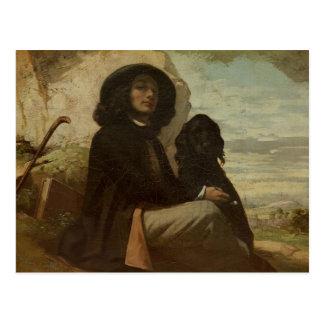 Courbet avec son chien noir 1842 carte postale
