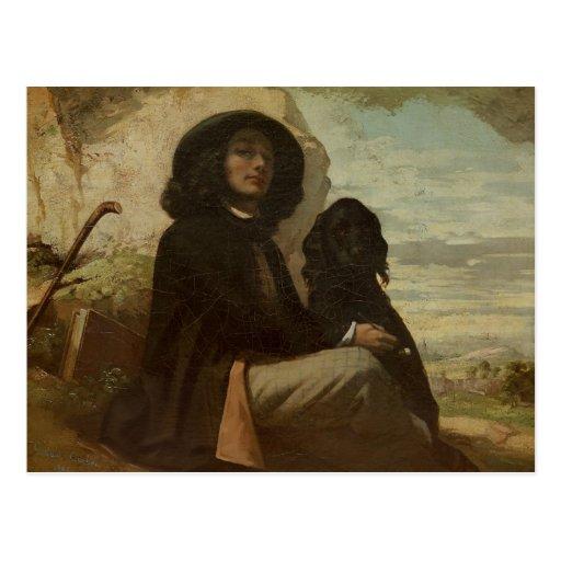 Courbet avec son chien noir, 1842 carte postale