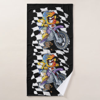 Coureur de motocross et drapeau checkered