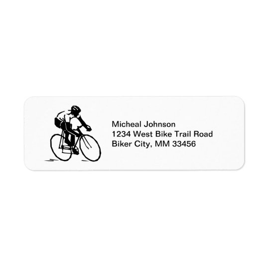 Coureur de vélo dans le cavalier de bicyclette de  étiquette d'adresse retour