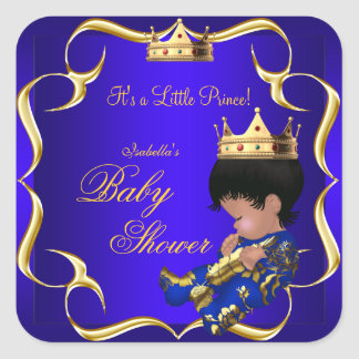 Couronne 3 de garçon d'or de bleu royal de prince sticker carré