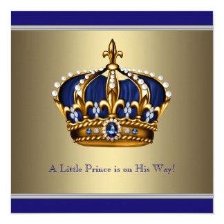 Couronne bleue d'or petit baby shower de prince carton d'invitation  13,33 cm