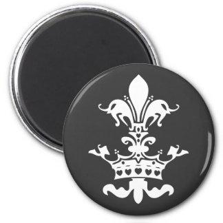 Couronne de coeur de Fleur - noir Magnet Rond 8 Cm