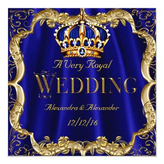 Couronne d'or de mariage de marine de bleu royal carton d'invitation  13,33 cm
