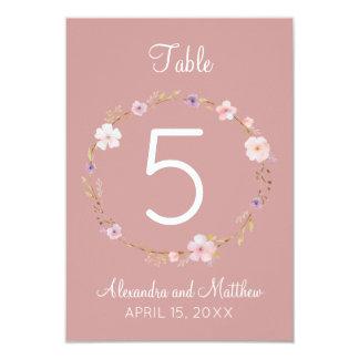 Couronne florale de mariage - nombre de Tableau Carton D'invitation 8,89 Cm X 12,70 Cm