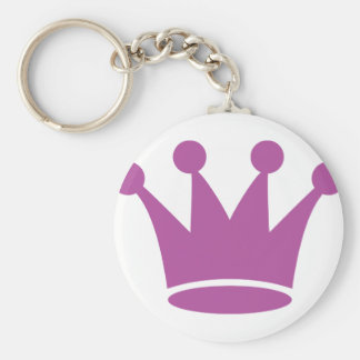 couronne rose de princesse porte-clé rond