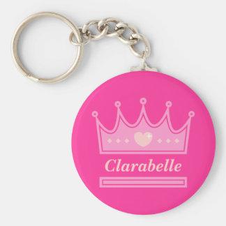 Couronne rose pour la princesse royale porte-clé rond