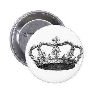 Couronne vintage noire et blanche badge rond 5 cm