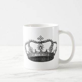 Couronne vintage noire et blanche mug