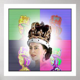 Couronnement d'art de bruit pour Elizabeth II Poster