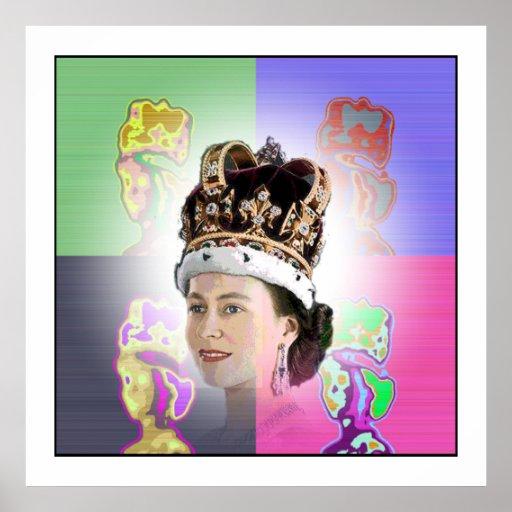 Couronnement d'art de bruit pour Elizabeth II Posters