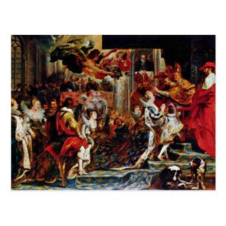 Couronnement de Maria De Medici à St Denis dans le Carte Postale