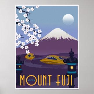 Course au mont Fuji dans votre voiture de vol ! Posters