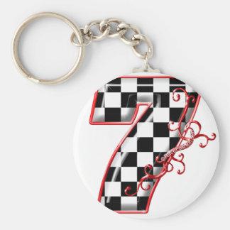 course chanceuse numéro 7 porte-clé rond