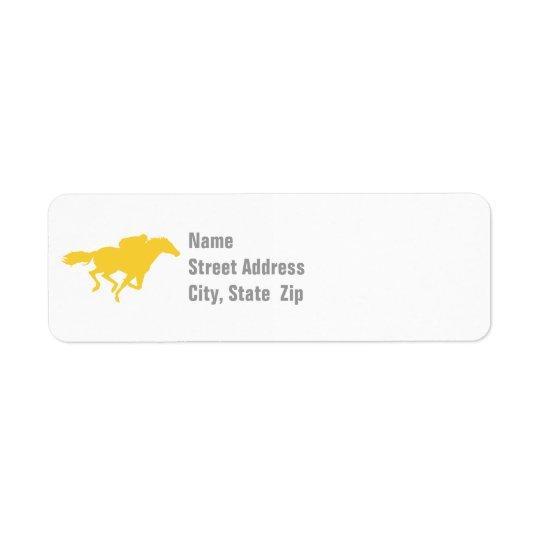 Course de chevaux ambre jaune étiquette d'adresse retour