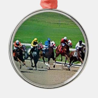 Course de chevaux du Kentucky Ornement Rond Argenté
