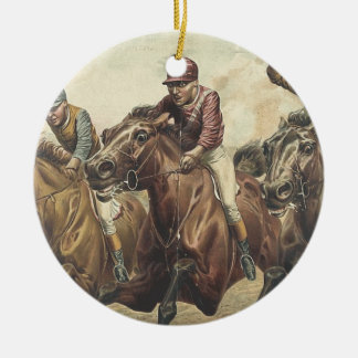 Course de chevaux SUPÉRIEURE Ornement Rond En Céramique