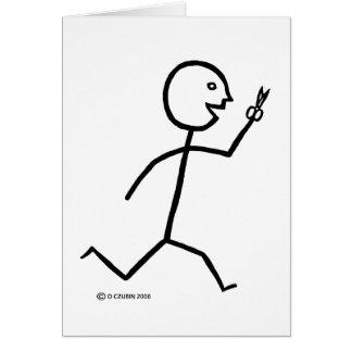 Courses avec des ciseaux carte de vœux