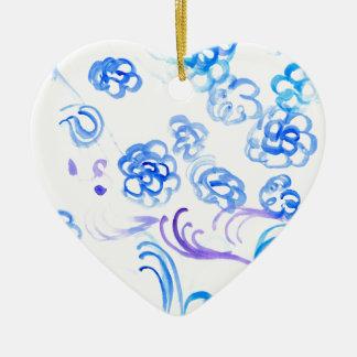 Courses bleues de peinture ornement cœur en céramique