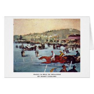 Courses dans le Bois de Boulogne par Manet Edouard Carte De Vœux