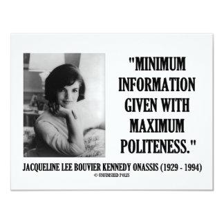 Courtoisie minimum de l'information de Jacqueline Carton D'invitation 10,79 Cm X 13,97 Cm