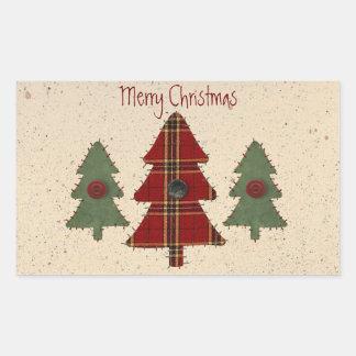 Cousez l'autocollant d'arbre de Noël Sticker Rectangulaire