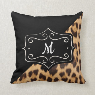 Coussin 16X16 d'empreinte de léopard de monogramme