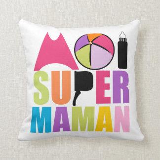 Coussin 40x40cm-  Moi Super Maman - Logo Rose