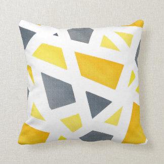 Coussin Abrégé sur jaune gris géométrique