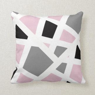 Coussin Abrégé sur noir gris rose blanc géométrique