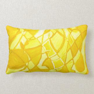 Coussin abstrait jaune citron ensoleillé d'art