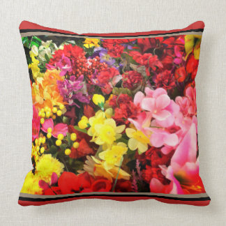 Coussin Accent floral rose jaune rouge
