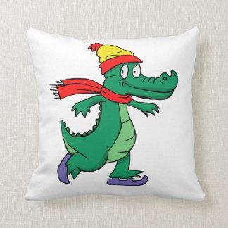 Coussin Alligator patinant avec le casquette et l'écharpe