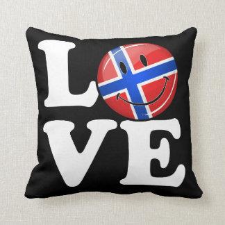 Coussin Amour de drapeau de sourire de la Norvège