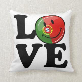 Coussin Amour de drapeau de sourire du Portugal