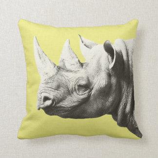 Coussin animal de jaune de safari de rhinocéros